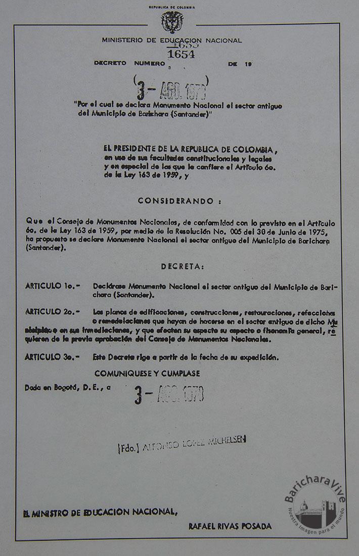 Resolución-Declaratoria-Barichara-Monumento-Nacional--Junio-30-de-1975