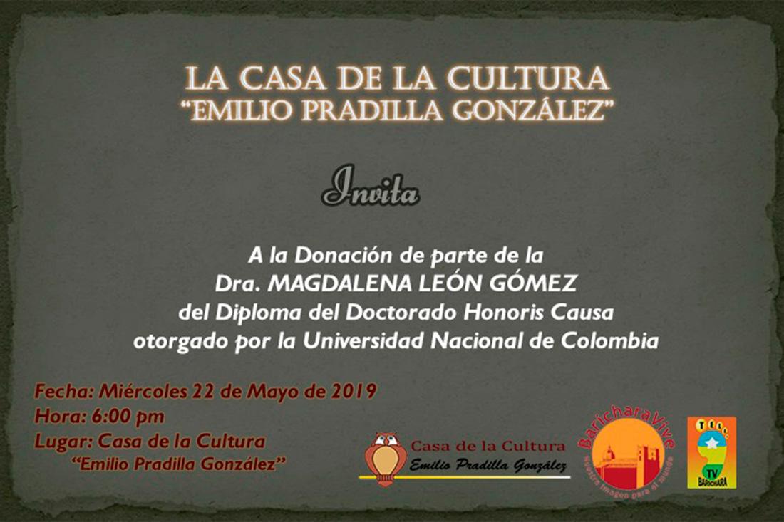 Homenaje Dra. Magdalena León Gómez en Barichara