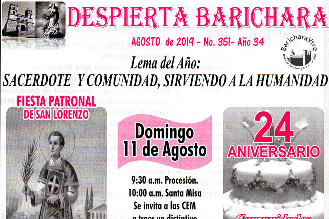 Boletín Parroquial mes de Agosto